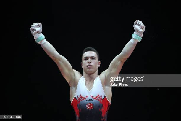 Ahmet Onder of Turkey reacts after competing in Rings in the Men's Gymnastics Final on Day Ten of the European Championships Glasgow 2018 at The SSE...