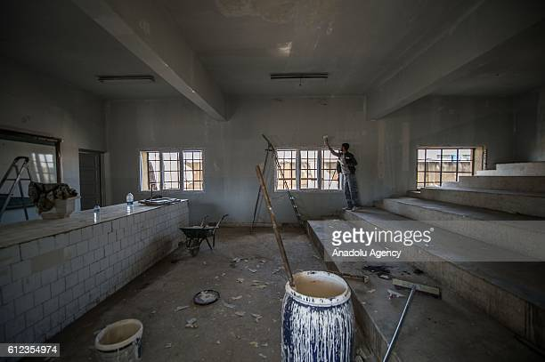 Ahmet Selim Mulla high school that was previously used as a jail and torture rooms by Daesh militants is reconditioned by Turkey's Gaziantep...