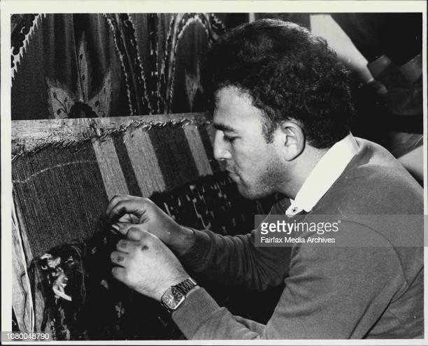 Ahmet Solak from Konya Central Turkey repairing rugs at Nomadic Rug Traders Surry Hills June 7 1984
