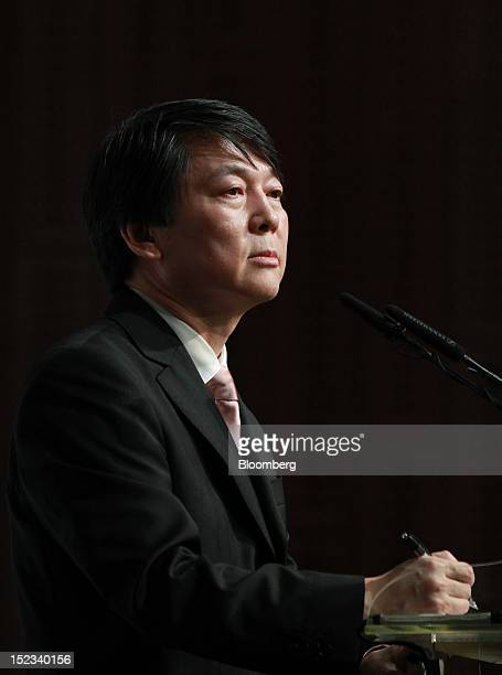 Ahn Cheol Soo chairman of Ahnlab Inc attends a news conference announcing his presidential candidacy in Seoul South Korea on Wednesday Sept 19 2012...