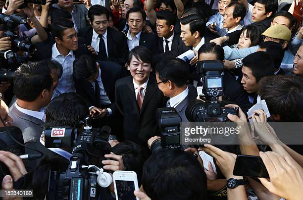 Ahn Cheol Soo chairman of Ahnlab Inc center leaves a news conference after announcing his presidential candidacy in Seoul South Korea on Wednesday...