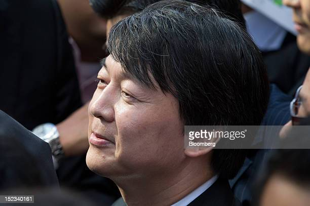 Ahn Cheol Soo chairman of Ahnlab Inc leaves a news conference after announcing his presidential candidacy in Seoul South Korea on Wednesday Sept 19...