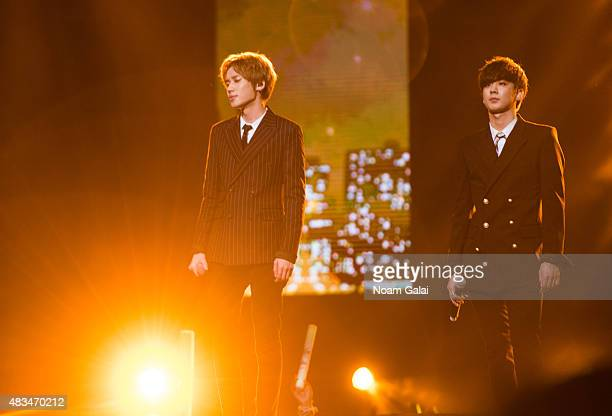 Ahn Daniel and Lee Chanhee of Teen Pop perform at the 2015 KPop Festival at Prudential Center on August 8 2015 in Newark New Jersey