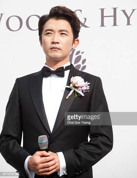 Ahn JaeWook poses for photographs before the wedding at Banyan Tree Club Spa Seoul on June 1 2015 in Seoul South Korea