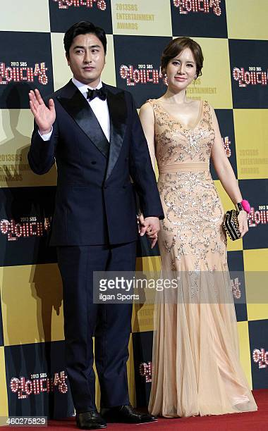 Ahn JungHwan and Lee HyeWon arrive at the red carpet of the 2013 SBS Entertainment Awards at SBS Prism Tower on December 30 2013 in Seoul South Korea