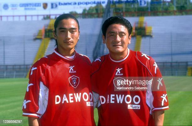 Ahn Jung-hwan and Ma Mingyu of Perugia pose for photo during the Serie A 2000-01 Italy.