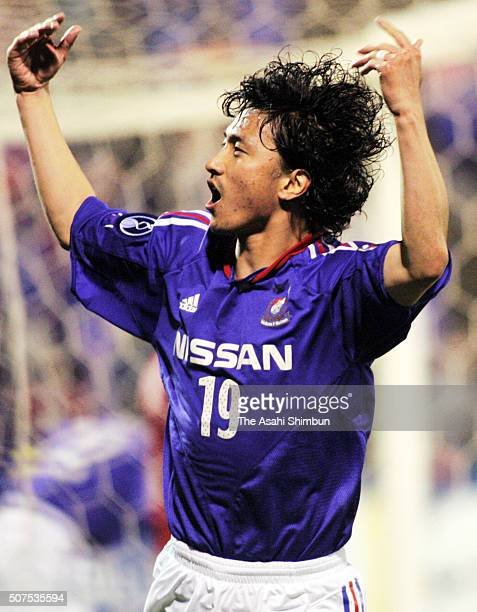 Ahn Junghwan of Yokohama FMarinos celebrates scoring his team's second goal during the AFC Champions League match between Yokohama FMarinos and BEC...