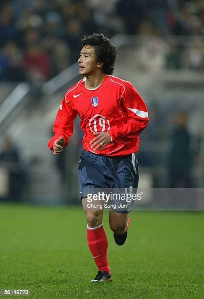 Ahn JungHwan South Korea in action during the friendly match between South Korea and Sweden at the SangAm World Cup stadium on November 12 2005 in...