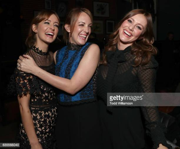 Ahna O'Reilly Jen Zaborowski and Julianna Guill attend the after party for the premiere of Momentum Pictures' 'In Dubious Battle' on February 15 2017...