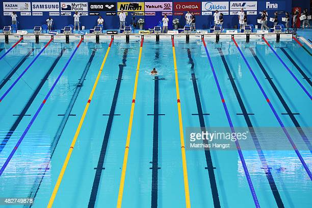 Ahnt Khaung Htut of Myanmar competes in the Men's 100m Breaststroke heats on day nine of the 16th FINA World Championships at the Kazan Arena on...