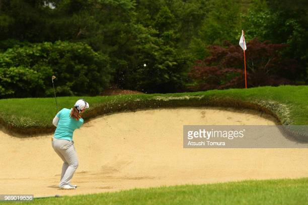 AhReum Hwang odf South Korea hits from a bunker on the 11th hole during the first round of the Suntory Ladies Open Golf Tournament at the Rokko...