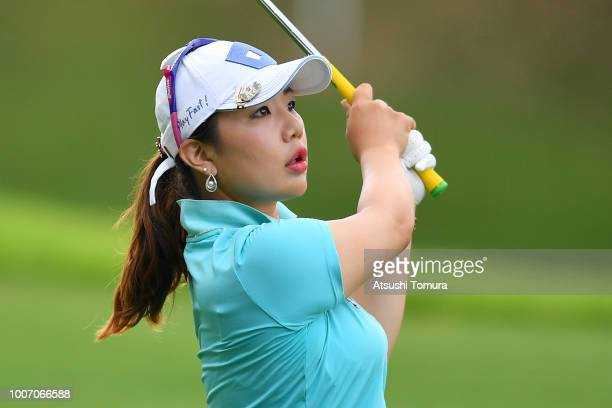 AhReum Hwang of Sout Korea hits her second shot on the 15th hole during the final round of the Daito Kentaku Ehayanet Ladies at the Narusawa Golf...