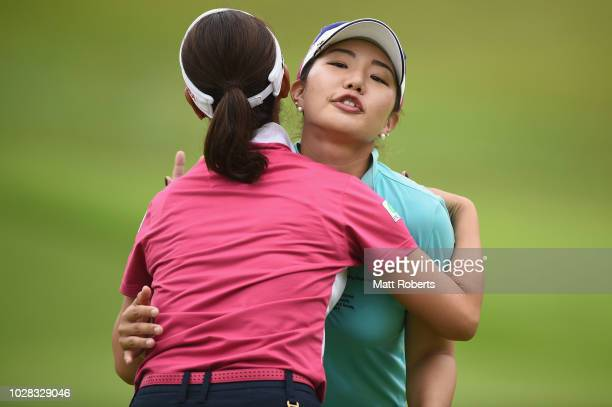 AhReum Hwang of South Korea and Mami Fukuda hug on the 9th green during the second round of the 2018 LPGA Championship Konica Minolta Cup at Kosugi...
