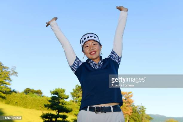 Ah-Reum Hwang of South Korea celebrates winning the tournament following the final round of the Stanley Ladies at Tomei Country Club on October 13,...