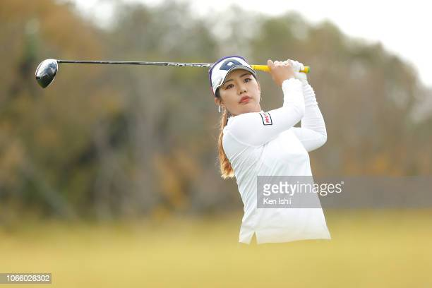 AhReum Hwang of South Korea hits a tee shot on the 9th hole during the final round of the ItoEn Ladies at the Great Island Club on November 11 2018...