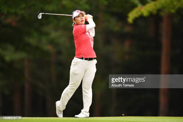 AhReum Hwang of South Korea hits her second shot on the 14th hole during the second round of the Daito Kentaku Ehayanet Ladies at the Narusawa Golf...