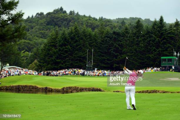 AhReum Hwang of South Korea hits her second shot on the 18th hole during the final round of the Karuizawa 72 Golf Tournament at the Karuizawa 72 Golf...