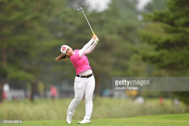 AhReum Hwang of South Korea hits her second shot on the 5th hole during the final round of the Karuizawa 72 Golf Tournament at the Karuizawa 72 Golf...