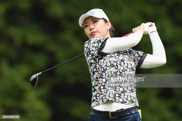 AhReum Hwang of South Korea hits her tee shot on the 12th hole during the second round of the CAT Ladies Golf Tournament HAKONE JAPAN 2017 at the...