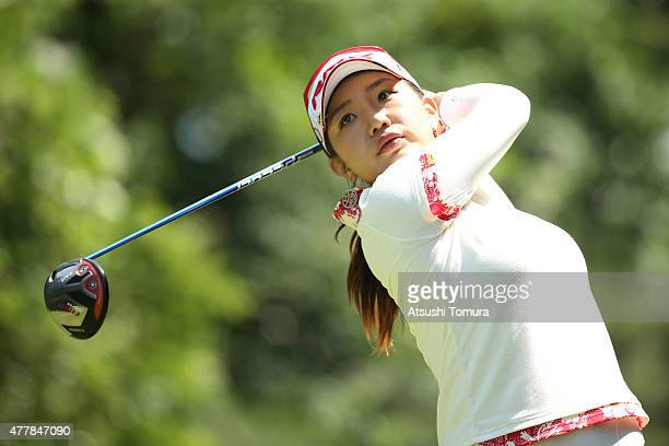 AhReum Hwang of South Korea hits her tee shot on the 13th hole during the second round of the Nichirei Ladies at the Sodegaura Country Club Shinsode...