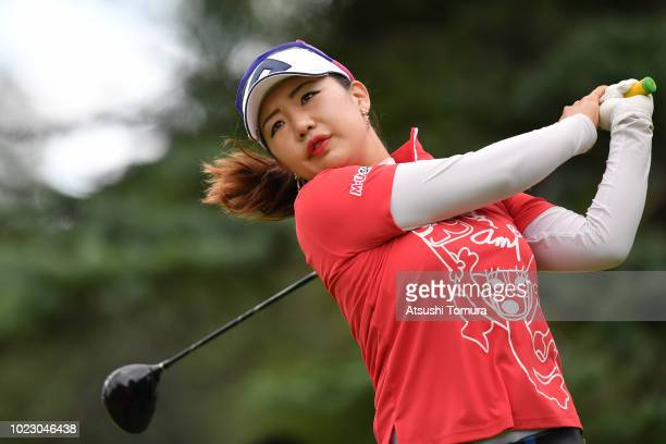 AhReum Hwang of South Korea hits her tee shot on the 6th hole during the third round of the Nitori Ladies at Otaru Country Club on August 25 2018 in...