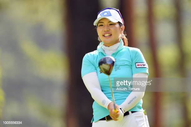 AhReum Hwang of South Korea hits her tee shot on the 9th hole during the first round of the Daito Kentaku Ehayanet Ladies at the Narusawa Golf Club...