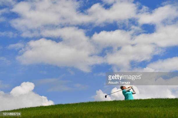 AhReum Hwang of South Korea hits her tee shot on the 9th hole on the 9th hole during the second round of the Karuizawa 72 Golf Tournament at the...