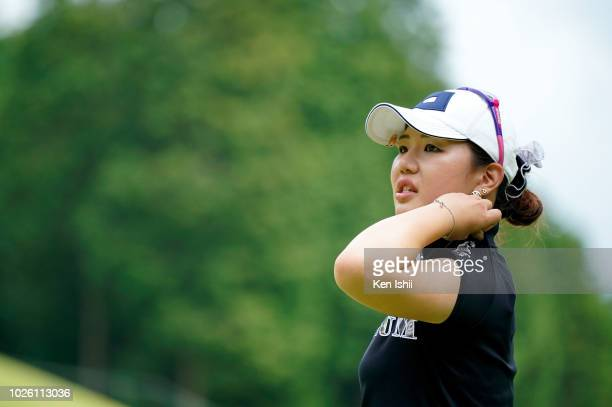 AhReum Hwang of South Korea looks on during the final round of the Golf5 Ladies at Mizunami Country Club on September 2 2018 in Mizunami Gifu Japan