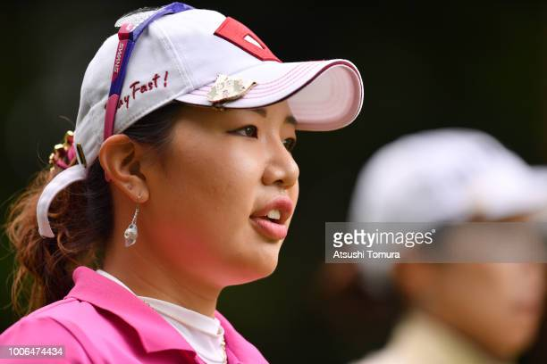 AhReum Hwang of South Korea looks on during the third round of the Daito Kentaku Ehayanet Ladies at the Narusawa Golf Club on July 28 2018 in...