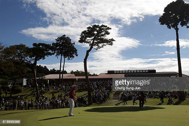 AhReum Hwang of South Korea on the 9th hole during the second round of the Mitsubishi Electric/Hisako Higuchi Ladies Golf Tournament at the...