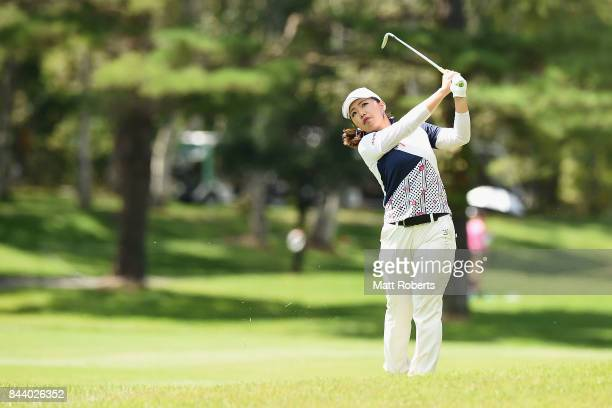 AhReum Hwang of South Korea plays her approach shot on the 11th hole during the second round of the 50th LPGA Championship Konica Minolta Cup 2017 at...