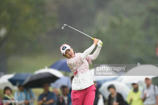 AhReum Hwang of South Korea plays her second shot on the 1st hole during the third round of the 2018 LPGA Championship Konica Minolta Cup at Kosugi...