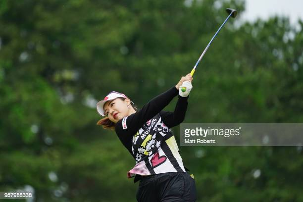 AhReum Hwang of South Korea plays her second shot on the 1st hole during the final round of the Hoken No Madoguchi Ladies at the Fukuoka Country Club...