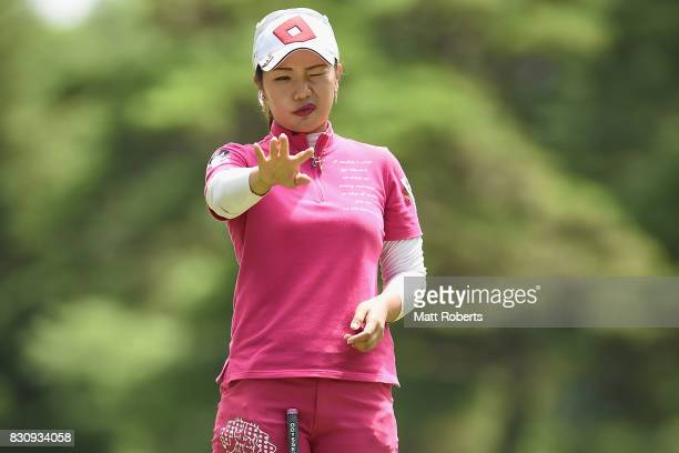 AhReum Hwang of South Korea prepares to putt on the 9th green during the final round of the NEC Karuizawa 72 Golf Tournament 2017 at the Karuizawa 72...