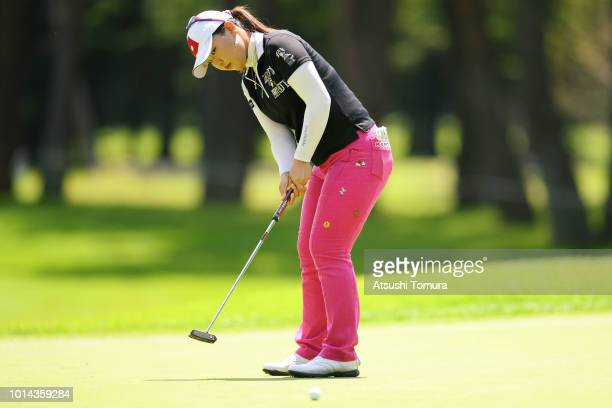 AhReum Hwang of South Korea putts on the 4th hole during the first round of the Karuizawa 72 Golf Tournament at the Karuizawa 72 Golf North Course on...