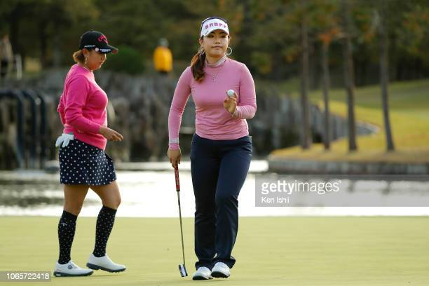 AhReum Hwang of South Korea reacts after a putt on the 18th green during the second round of the ItoEn Ladies at the Great Island Club on November 10...