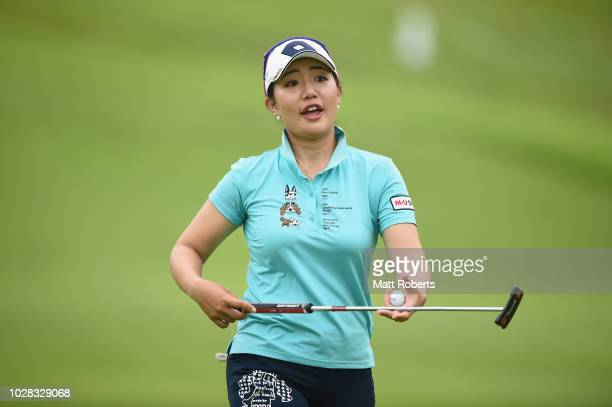 AhReum Hwang of South Korea reacts during the second round of the 2018 LPGA Championship Konica Minolta Cup at Kosugi Country Club on September 7...
