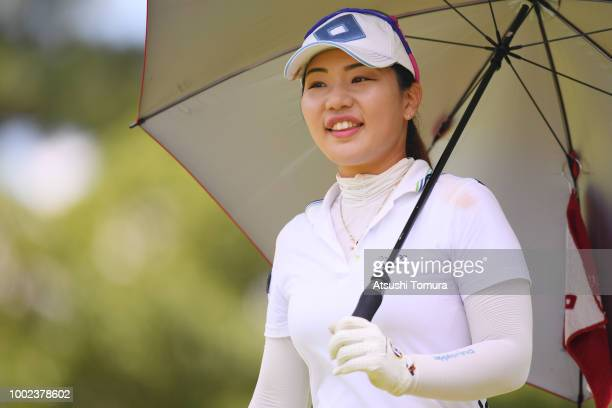 AhReum Hwang of South Korea smiles during the first round of the Century 21 Ladies Golf Tournament at the Seta Golf Course West Course on July 20...