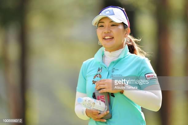 AhReum Hwang of South Korea smiles during the first round of the Daito Kentaku Ehayanet Ladies at the Narusawa Golf Club on July 26 2018 in Narusawa...