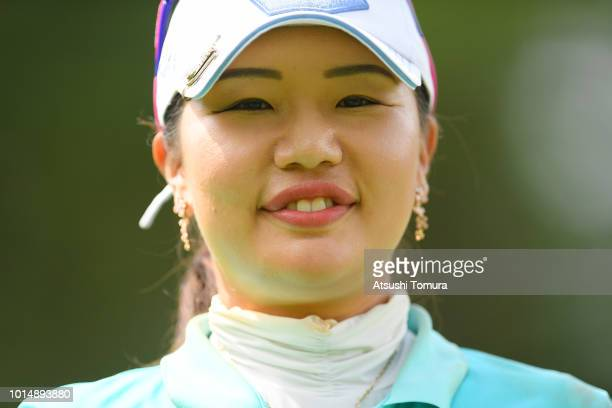 AhReum Hwang of South Korea smiles during the second round of the Karuizawa 72 Golf Tournament at the Karuizawa 72 Golf North Course on August 11...