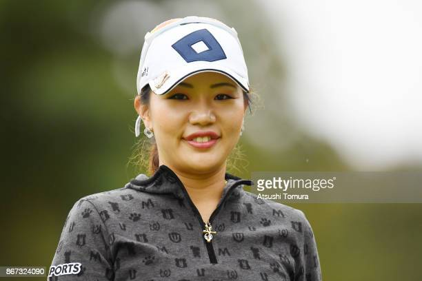 AhReum Hwang of South Korea smiles during the second round of the Higuchi Hisako Ponta Ladies at the Musashigaoka Golf Course on October 28 2017 in...