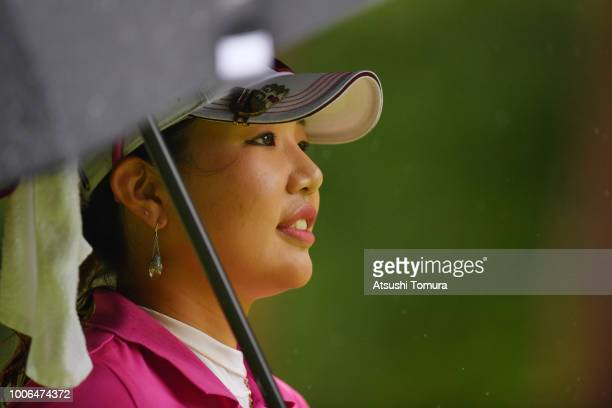 AhReum Hwang of South Korea smiles during the third round of the Daito Kentaku Ehayanet Ladies at the Narusawa Golf Club on July 28 2018 in Narusawa...