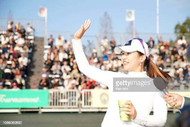 AhReum Hwang of South Korea waves to the crowd after winning the ItoEn Ladies at the Great Island Club on November 11 2018 in Chonan Chiba Japan