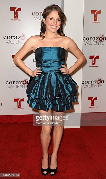 Ahrid Hannaley attends Telemundo's Corazon Valiente Red Carpet Premiere at Fontainebleau Miami Beach on February 29 2012 in Miami Beach Florida