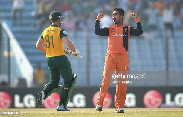 Ahsan Malik of the Netherlands celebrates dismissing Albie Morkel of South Africa during the ICC World Twenty20 Bangladesh 2014 Group 1 match between...