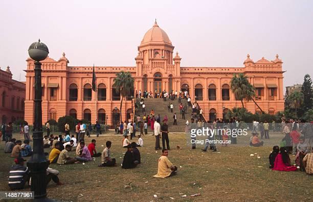Ahsan Manzil (Pink Palace) with visitors.