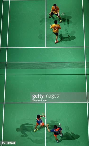 Ahsan Mohammad and Hendra Setiawan of Indonesia celebrate after beaing Biao Chai and Wei Hong of China in the Men's Doubles Final match on day five...