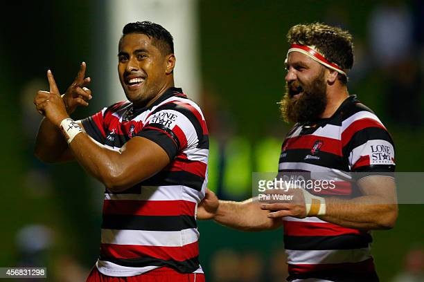 Ahsee Tuala of Counties celebrates his try during the round nine ITM Cup match between Counties Manukau and Auckland at ECOLight Stadium on October 8...