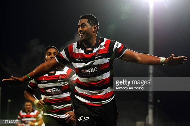 Ahsee Tuala of Counties Manukau celebrates his try during the round two ITM Cup match between North Harbour and Counties Manukau at North Harbour...