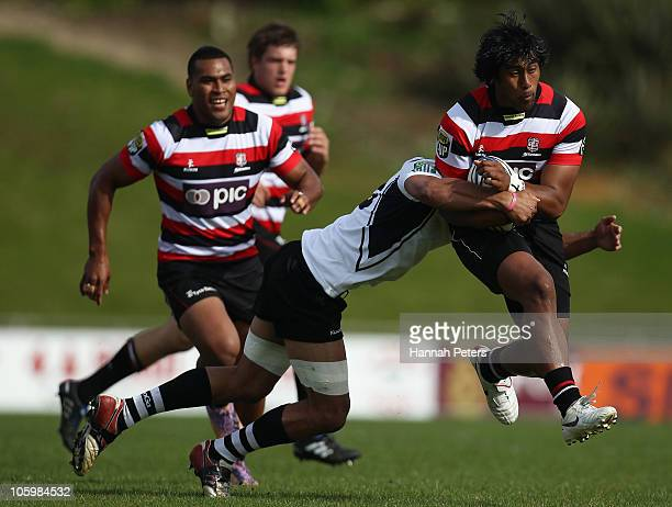 Ahsee Tuala of Counties Manukau charges forward during the round 13 ITM Cup match between Counties Manakau and Hawke's Bay at Bayers Growers Stadium...